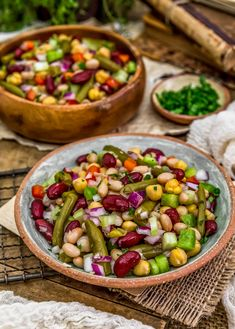 This healthy, hearty, and refreshing Oil Free Five Bean Salad is so easy to pull together for a quick salad, work lunch, picnic, or your next potluck. Healthy Lunches For Work, Work Lunches, Healthy Kids, Five Bean Salad, Whole Food Recipes, Vegan Recipes, Kids Nutrition, Healthy Nutrition, Clean Eating