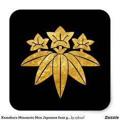 Kamakura Minamoto Mon Japanese faux gold on black Square Sticker