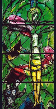 Marc Chagall - Christ's Window: Christ crucified and resurrected at Fraumünster Zürich, Switzerland