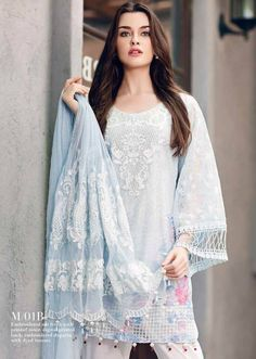 Mahiymaan Embroidered Lawn Festive Collection 2017 By Al-Zohaib - PK Vogue Eid Outfits, Pakistani Outfits, Indian Outfits, Anarkali Kurti, Salwar Kameez, Pastel Clothes, Diy Summer Clothes, Pastel Outfit, Desi Wear