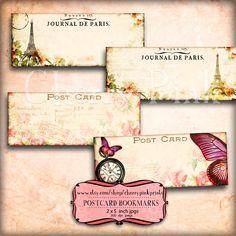 Digital bookmark POSTCARD BOOKMARKS 2 x 5 inch bookmark , 8 vintage designs, incl Marie Antoinette, seashells, butterflys.