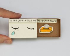 "Cute Missing You Card/ Farewell Card/ Goodbye Card/ Romantic Matchbox /Message box ""In case you are missing me"""