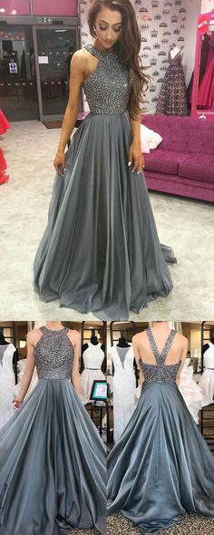 Grey Chiffon A-line Rhinestone Beaded Top Dark Long Prom Dresses #Grey #Chiffon #Aline #Rhinestone #Beaded #Topdark #Promdress