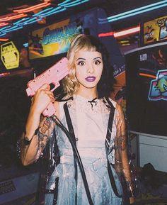 "On instagram by ali_cephal #arcade #microhobbit (o) http://ift.tt/1WtLPiE""God I wish I never spoke now I gotta wash my mouth out with soap."" - Melanie Martiez Soap #crybaby #melaniemartinez #soap #fear #life #iconic  #dollface #pink #gun"