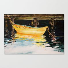 Lunenburg dory Stretched Canvas by Denise Comeau - $85.00