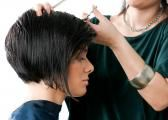 A side view of a concave bob haircut.