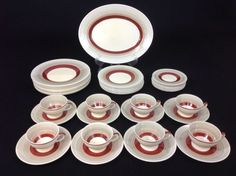 Susie Cooper Crownworks 41-Piece Set for EIGHT Wedding Ring Band Art Deco 1930s #SusieCooperCrownworks