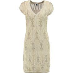 M Missoni - Metallic Crochet-knit Mini Dress ($299) ❤ liked on Polyvore featuring dresses, gold, metallic dress, metallic mini dress, crochet dress, metallic knit dress and short dresses