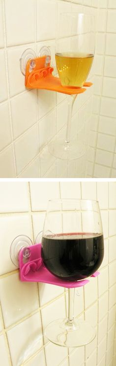 Shower wine glass holder // Is it bath time or wine time - or both?! Genius! So clever...