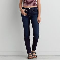 AEO Denim X Hi-Rise Skinny Jeans ($50) ❤ liked on Polyvore featuring jeans, pants, dark rinse, american eagle outfitters jeans, skinny fit denim jeans, american eagle outfitters, faded jeans and skinny leg jeans
