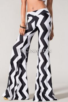 White and Black Palazzo Pants Iconic Italian Zig Zag Bold Chevron Silky Flares | eBay