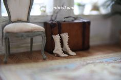 Edwardian bride boots made of incredible soft and thin real leather in scale 1:12 by minis2you on Etsy