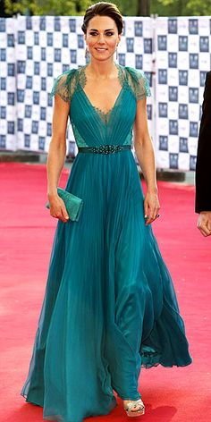 Kate can do no wrong! Especially in this ethereal teal-laced Jenny Packham gown with a crystal-embellished waistband that's fit for a true princess!