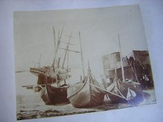 Antique Photograph of Boats in Harbor Nautical by Recycled1967 (Art & Collectibles, Photography, Black & White, victorian, antique, photograph, nautical, ships, harbor, antique photographs, old boat, sailing ship, old harbor)