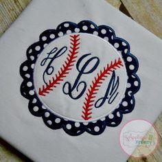 Baseball Circle Scallop Patch Applique Design-