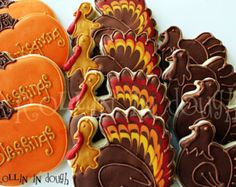 Thanksgiving Cookies, Turkey Cookies, Holiday Cookies, Thanksgiving Blessings, Giving Thanks Cookies Acorn Cookies, Turkey Cookies, Leaf Cookies, Fall Cookies, Cut Out Cookies, Pumpkin Cookies, Holiday Cookies, Holiday Treats, Sugar Cookies