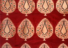 Red-Ochre Banarasi Katan Georgette Fabric with Hand-woven Trees in Golden Thread, Fabrics Pure Georgette Silk Color Of The Day, Georgette Fabric, Silk Thread, Pantone Color, Color Trends, Ikat, Hand Weaving, Bohemian Rug, Textiles