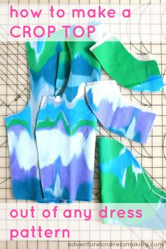 Adventures in Dressmaking: My first ever, a totally new project - art-inspired crop top and easy conversion tutorial! Begginer Sewing Projects, Diy Sewing Projects, Sewing Tutorials, Sewing Crafts, Sewing Patterns, Sewing Hacks, Sewing Ideas, Diy Clothes Tops, Diy Tops