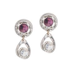 Purple and Silver Swarovski crystal earrings made with white gold. Hypoallergenic, excellent quality, great for everyday use