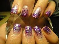 Purple glitter to clear