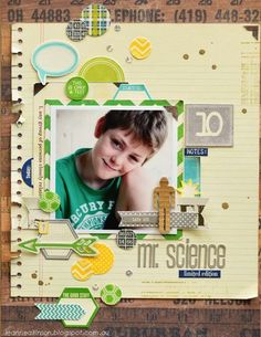 Leanne Allinson-Mr. Science layout via Jillibean Soup Blog