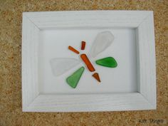 Pebble Driftwood Sea Glass Stone Pottery Art Painting Picture Made With Beach Finds BUTTERFLY Dragonfly