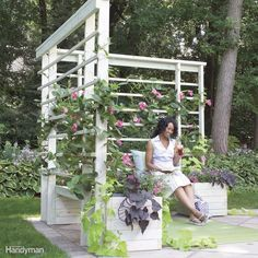 Build this simple seating/planter/arbor project to create a quiet, private space in your yard or on a deck. It provides shade and comfort as well as a welcome screen from neighbors. You can install it on an existing patio or build it on your deck. Get the full plans for this arbor and benches here.