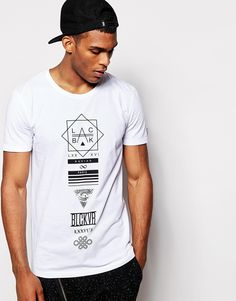 Blac+Kaviar+Longline+T-Shirt+With+Graphic+Print