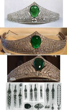 Emerald Art Deco Tiara featuring a large central cabochon emerald and diamonds set in platinum, made by Chaumet in 1926. A few old pieces of jewelry, such as a necklace, some earrings, a brooch and other pieces including a large egg shaped emerald and large diamond were sent from Luxembourg to the Paris headquarters of the jeweler to make the tiara. http://lux-arazzi.blogspot.de/2013/08/luxarazzi-101-emerald-art-deco-tiara.html