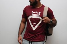 Maroon burgundy shirt with nods to status and royalty 100% ring spun cotton unisex fit