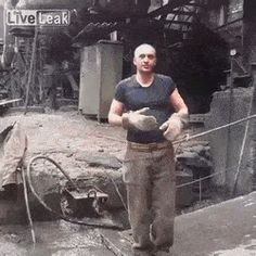 Man puts his hand in molten metal