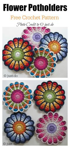 Flower Potholders FREE Crochet Pattern If you love crochet, you don't need to buy a plain old pot holder. You can crochet flower pot holder, which makes a great housewarming gift. Motif Mandala Crochet, Crochet Potholder Patterns, Crochet Dishcloths, Tapestry Crochet, Knitting Patterns, Crochet Coaster Pattern, Crochet Hot Pads, Crochet Pig, Crochet Gifts