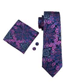 Navy & Purple Paisley Silk Neck Tie Set (3 piece Set)