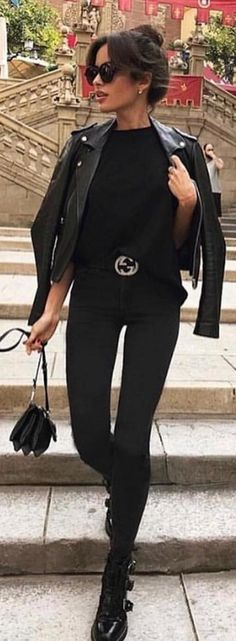 #spring #outfits woman wearing black shirt black leather jacket, black Gucci belt, and black pants outfit. Pic by @insta_fashion_world