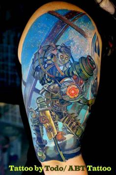 Just love Bioshock! Not interested in thisfor myself. Just love this game! Bioshock piece by Todo Brennan Gamer Tattoos, Tattoos Skull, Cartoon Tattoos, Sleeve Tattoos, Tatoos, Tattoo Sleeves, Bioshock Tattoo, Bioshock 2, Watercolors