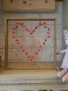 Origami cranes in a #Valentines #sweetheart #loveheart and framed. Custom orders too
