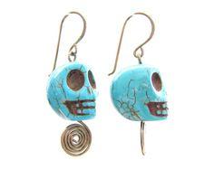 Blue Skull Howlite Turquoise Stone Antique Brass Dangle
