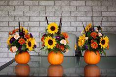 Pumpkin Flower Arrangement {Thanksgiving Centrepiece} - Life at Cloverhill Bunch Of Flowers, Fall Flowers, Fresh Flowers, Purple Flowers, Beautiful Flowers, Pumkin Decoration, Pumpkin Centerpieces, Thanksgiving Centerpieces, Centrepieces