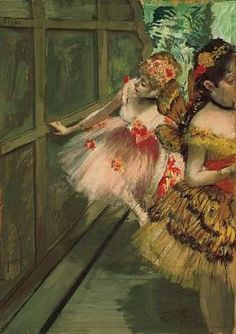 """Dancers in the Wings"" (c.1876-1878), by French artist - Edgar Degas (1834-1917), Pastel, gouache, distemper, and ""essence"" on paper, mounted on board; 27 1/4 x 19 3/4 in. (69.2 x 50.2 cm.), Norton Simon Art Foundation; M.1977.06.P; On view; Norton Simon Museum - Pasadena, California, USA."