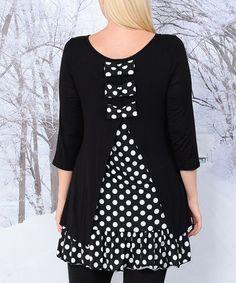 Black & White Polka Dot Split-Back Tunic - Plus #zulily #zulilyfinds