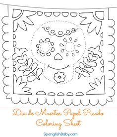 Free Día de Muertos Papel Picado Coloring Sheet {Printable} Bilingual {English & Spanish} Storytime