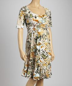 Take a look at this Orange & Black Floral Flounce Maternity Dress by Haute Q on #zulily today!