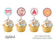 Circus Carnival Personalized Cupcake Toppers - PRINTABLE