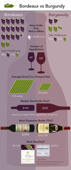 Often compared, yet so different, our latest infographic gives you the figures on these two great French wine regions. Read the latest wine news & features on wine-searcher Guide Vin, Wine Guide, French Wine Regions, Wine Facts, Wine Searcher, Wine News, Bordeaux Wine, Wine Education, Wine Delivery