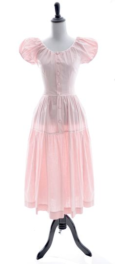 8df092e913d Pink vintage dress Nelly Don 1960 s cotton white piping Vintage Pink