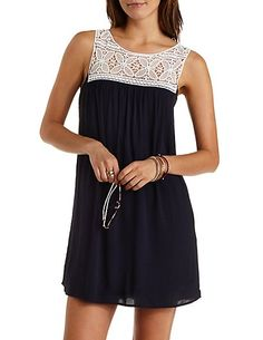 Crochet Yoke Shift Dress: Charlotte Russe #crochet #dress