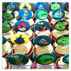 Red Velvet Cupcakes with cream cheese and Angry Bird Chocolate Sticks