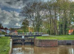 Canal lock gates in Vines Park, Droitwich Spa,Worcestershire
