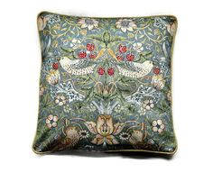 "William Morris ""Strawberry Thief "" Arts and Crafts grey, blue, beige vintage fabric. cushion, throw pillow, home decor."