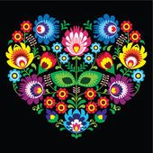 Folk Embroidery Patterns Polish, Slavic folk art art heart with flowers on black - wzory lowickie, wycinanka photo - Hungarian Embroidery, Folk Embroidery, Learn Embroidery, Floral Embroidery, Embroidery Patterns, Polish Embroidery, Folk Art Flowers, Flower Art, Bordado Popular
